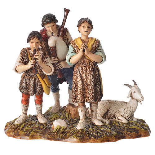 Scene with shepherds with goat, nativity figurines, 10cm Moranduzzo 1