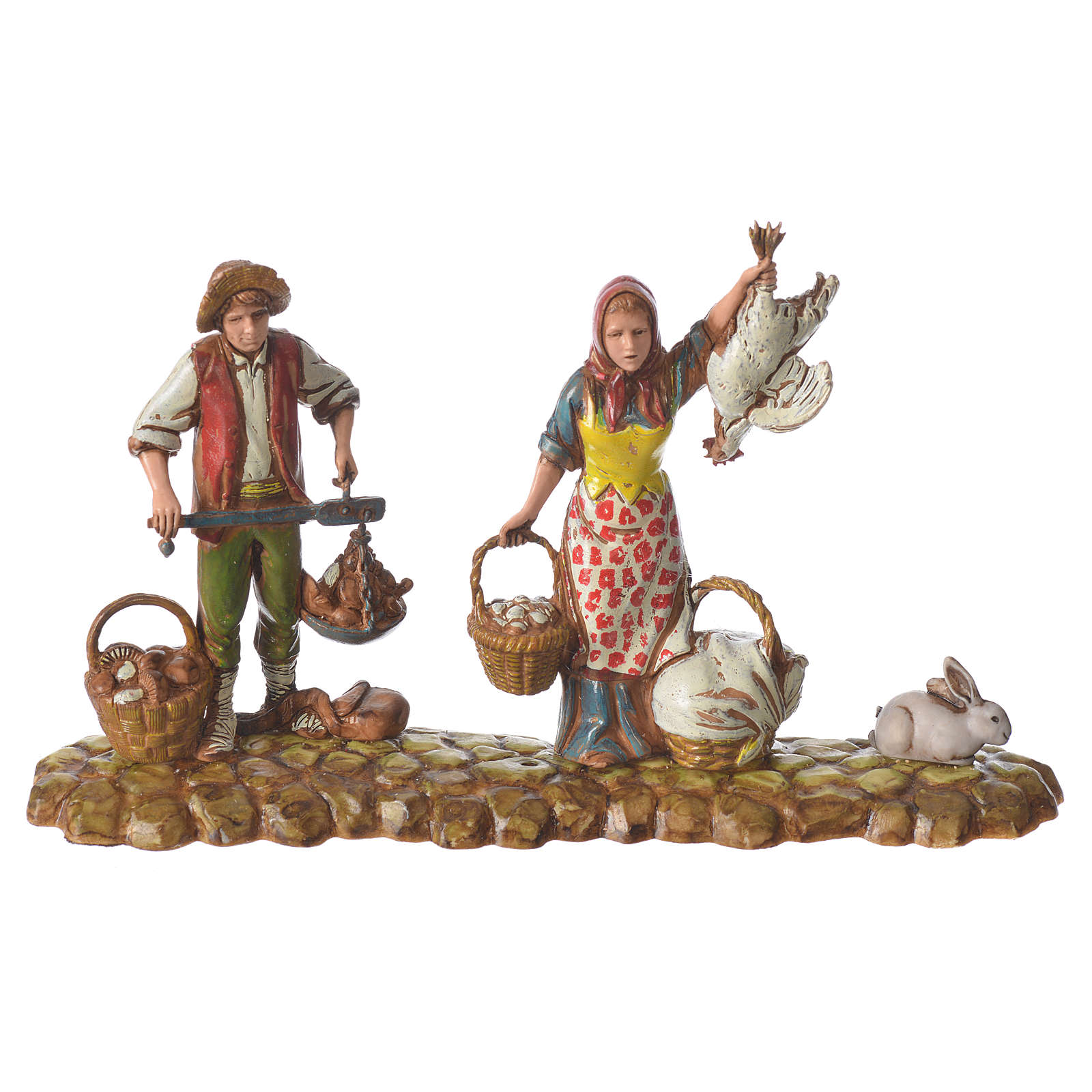 Scene with 3 shepherds, nativity figurines, 10cm Moranduzzo 4