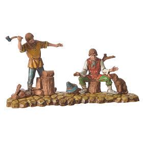 Scene with 3 shepherds, nativity figurines, 10cm Moranduzzo s3