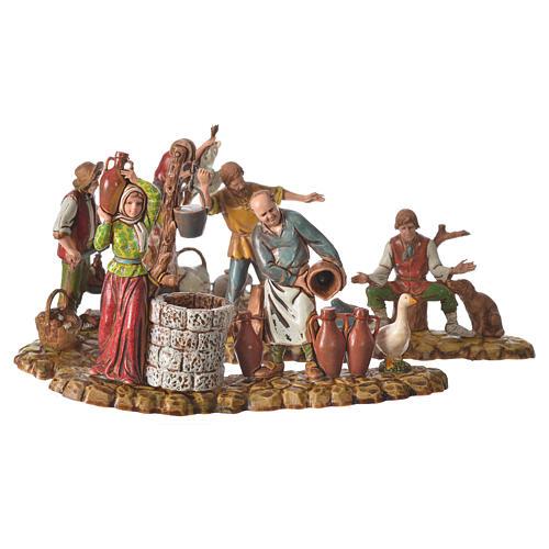 Scene with 3 shepherds, nativity figurines, 10cm Moranduzzo 1