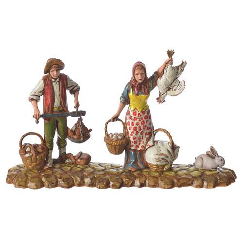 Scene with 3 shepherds, nativity figurines, 10cm Moranduzzo 2
