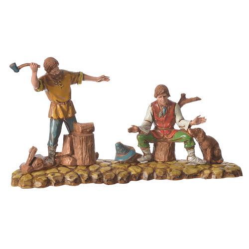 Scene with 3 shepherds, nativity figurines, 10cm Moranduzzo 3