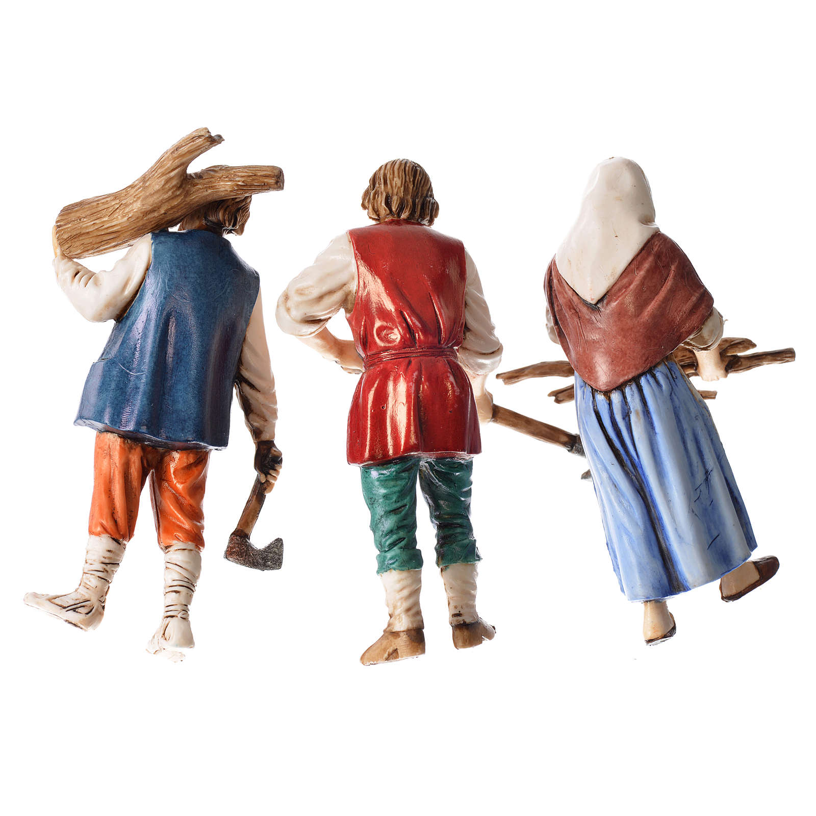 Woodcutters and farmer, 3 nativity figurines, 10cm Moranduzzo 4