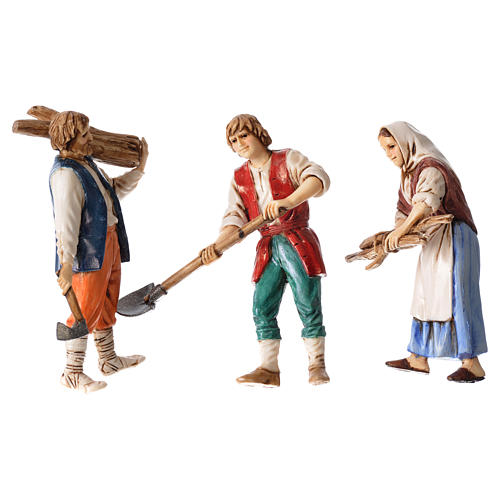 Woodcutters and farmer, 3 nativity figurines, 10cm Moranduzzo 1