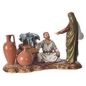 Scene with characters at the Market, nativity figurine, 10cm Moranduzzo s1