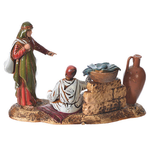 Scene with characters at the Market, nativity figurine, 10cm Moranduzzo 2
