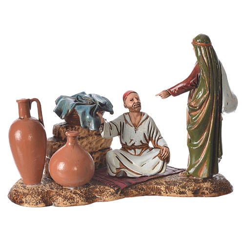 Scene with characters at the Market, nativity figurine, 10cm Moranduzzo 1