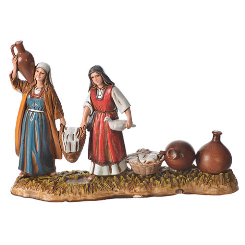 Scene with women and jugs, nativity figurines, 10cm Moranduzzo 1
