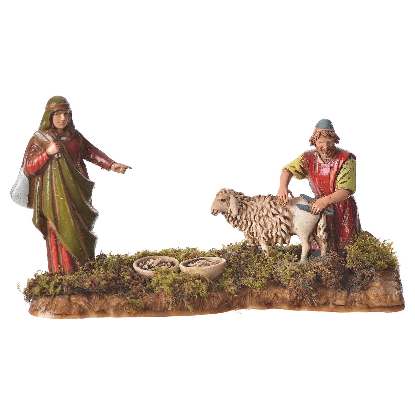 Scene with man shearing sheep, nativity figurines, 10cm Moranduzzo 4