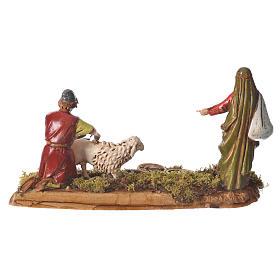 Scene with man shearing sheep, nativity figurines, 10cm Moranduzzo s2