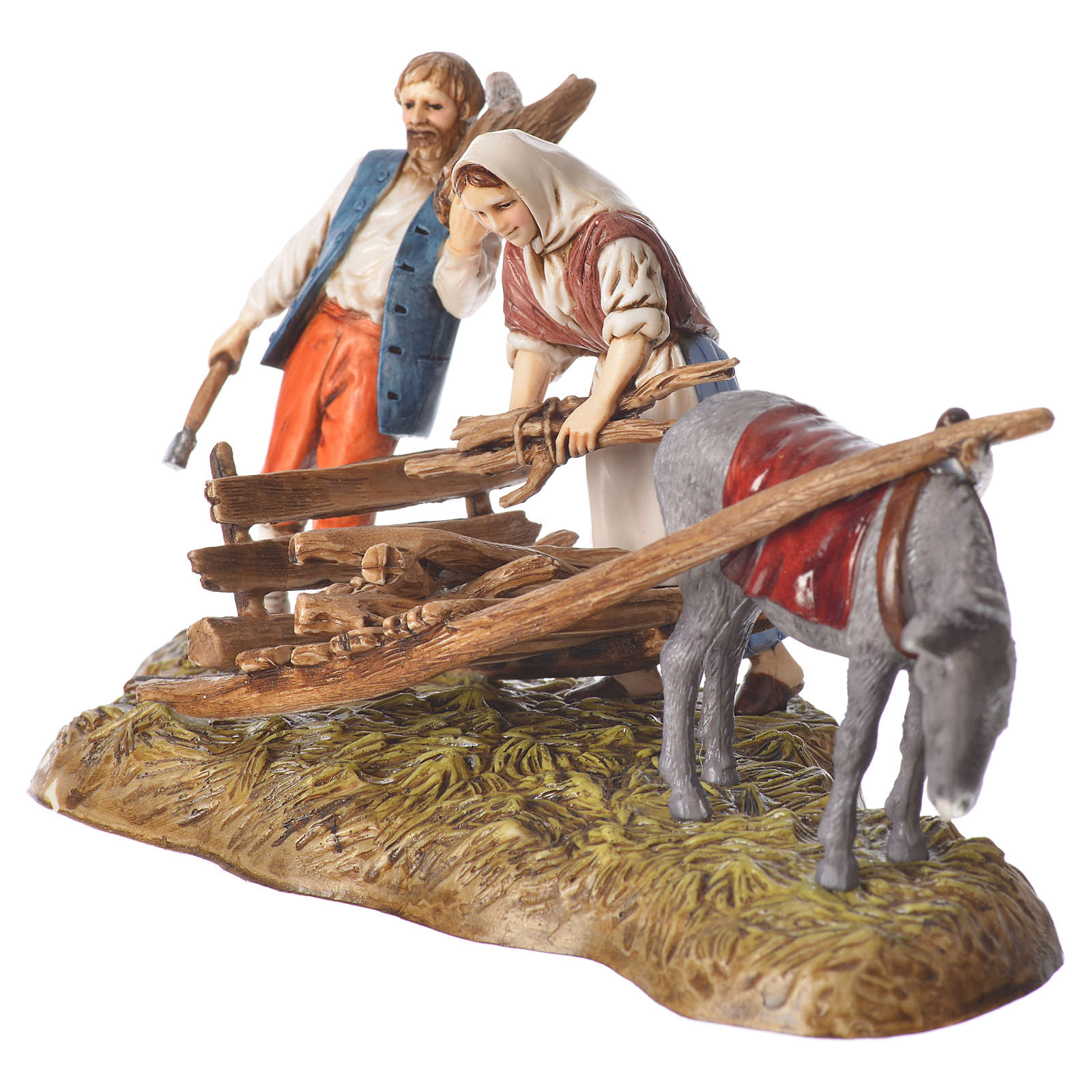 Scene of wood collection, nativity figurines, 10cm Moranduzzo 4