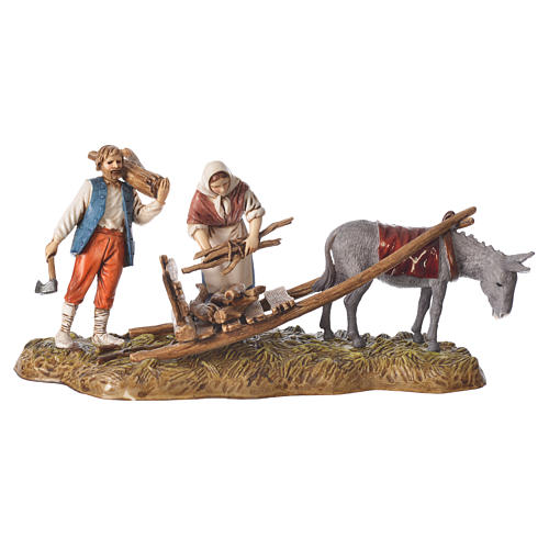 Scene of wood collection, nativity figurines, 10cm Moranduzzo 1