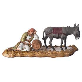 Scene with sleeping man and donkey, nativity figurines, 10cm Moranduzzo s1