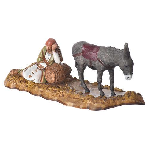 Scene with sleeping man and donkey, nativity figurines, 10cm Moranduzzo 2