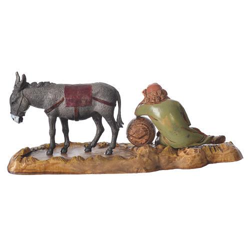 Scene with sleeping man and donkey, nativity figurines, 10cm Moranduzzo 3