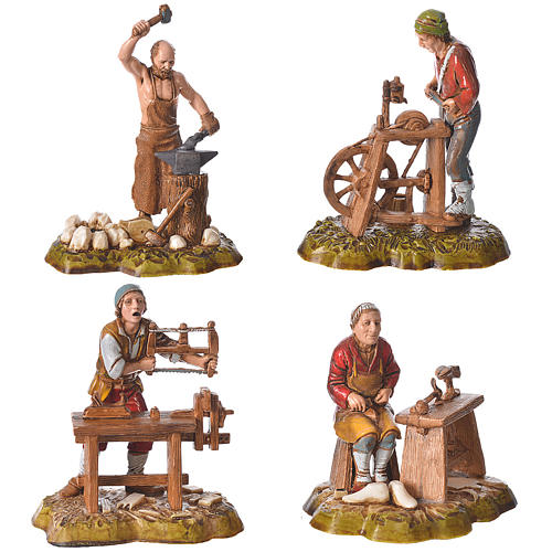 Arts and trades, 4 nativity figurines, 10cm Moranduzzo 1