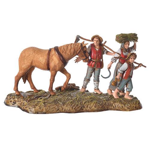 Scene with farmers with horse, nativity figurines, 10cm Moranduzzo 1