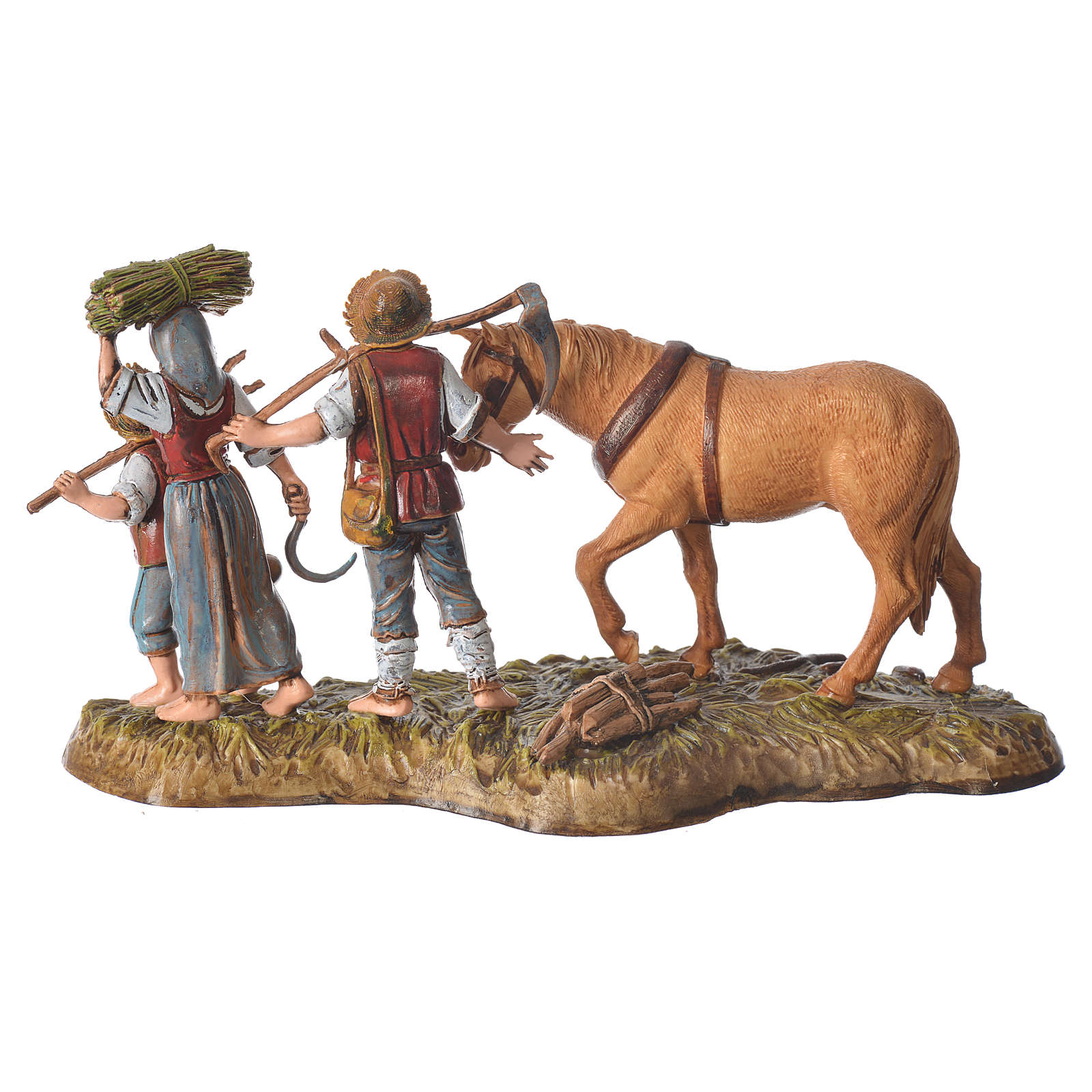 Scene with farmers with horse, nativity figurines, 10cm Moranduzzo 4