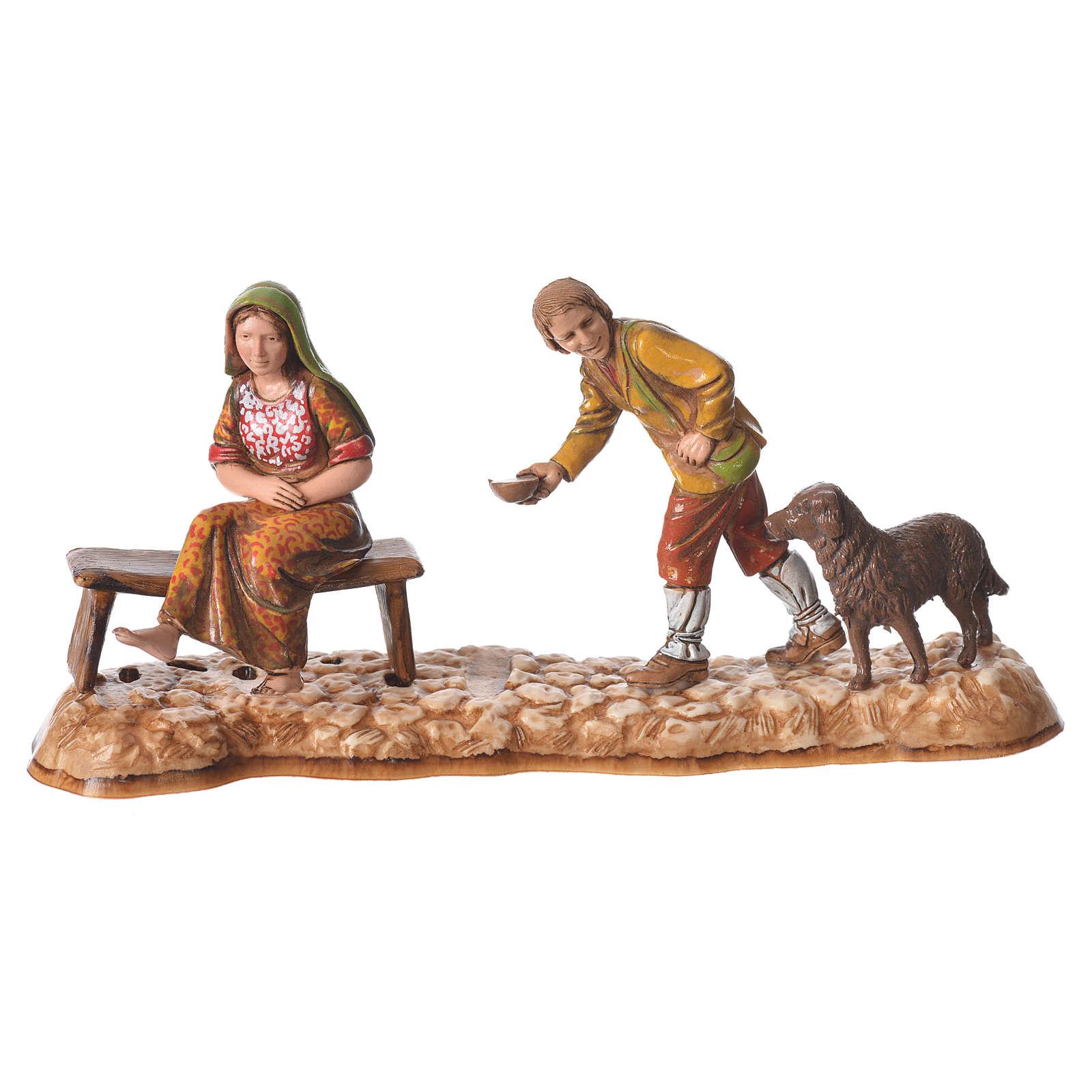 Market scene, nativity figurine, 10cm Moranduzzo, 2 pcs 4