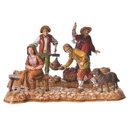 Market scene, nativity figurine, 10cm Moranduzzo, 2 pcs 1