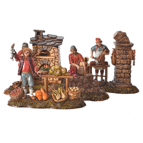 Composition with 4 nativity figurines, 10cm Moranduzzo 1