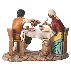 Group with man and woman at the table, nativity figurines, 10cm Moranduzzo s2