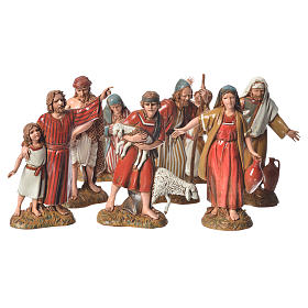 Nativity Scene by Moranduzzo: Shepherds with historic costumes, 8 nativity figurines, 10cm Moranduzzo