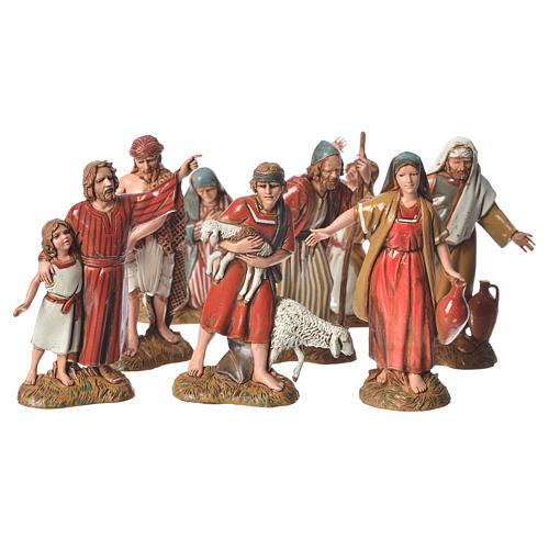 Shepherds with historic costumes, 8 nativity figurines, 10cm Moranduzzo 1