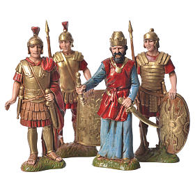 King Herod with soldiers, 4 nativity figurines, 10cm Moranduzzo s1