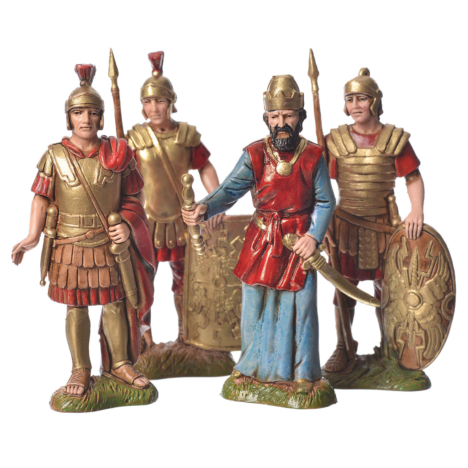 Rei Herodes com soldados presépio Moranduzzo com figuras de  altura média 10 cm 4 peças 4