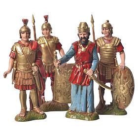 Rei Herodes com soldados presépio Moranduzzo com figuras de  altura média 10 cm 4 peças s1