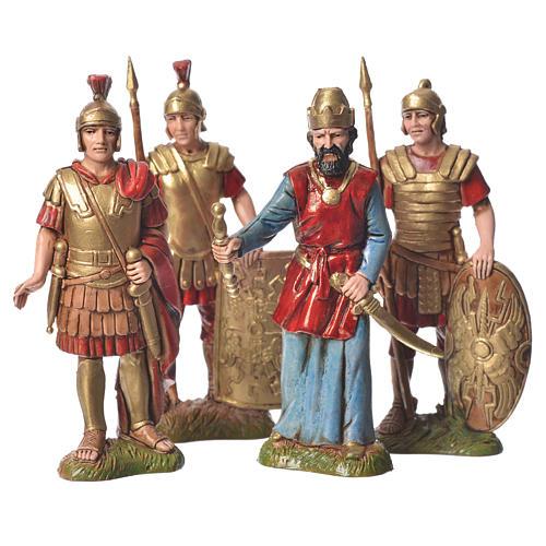 Rei Herodes com soldados presépio Moranduzzo com figuras de  altura média 10 cm 4 peças 1