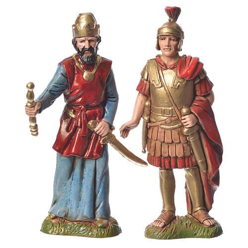 Rei Herodes com soldados presépio Moranduzzo com figuras de  altura média 10 cm 4 peças 3