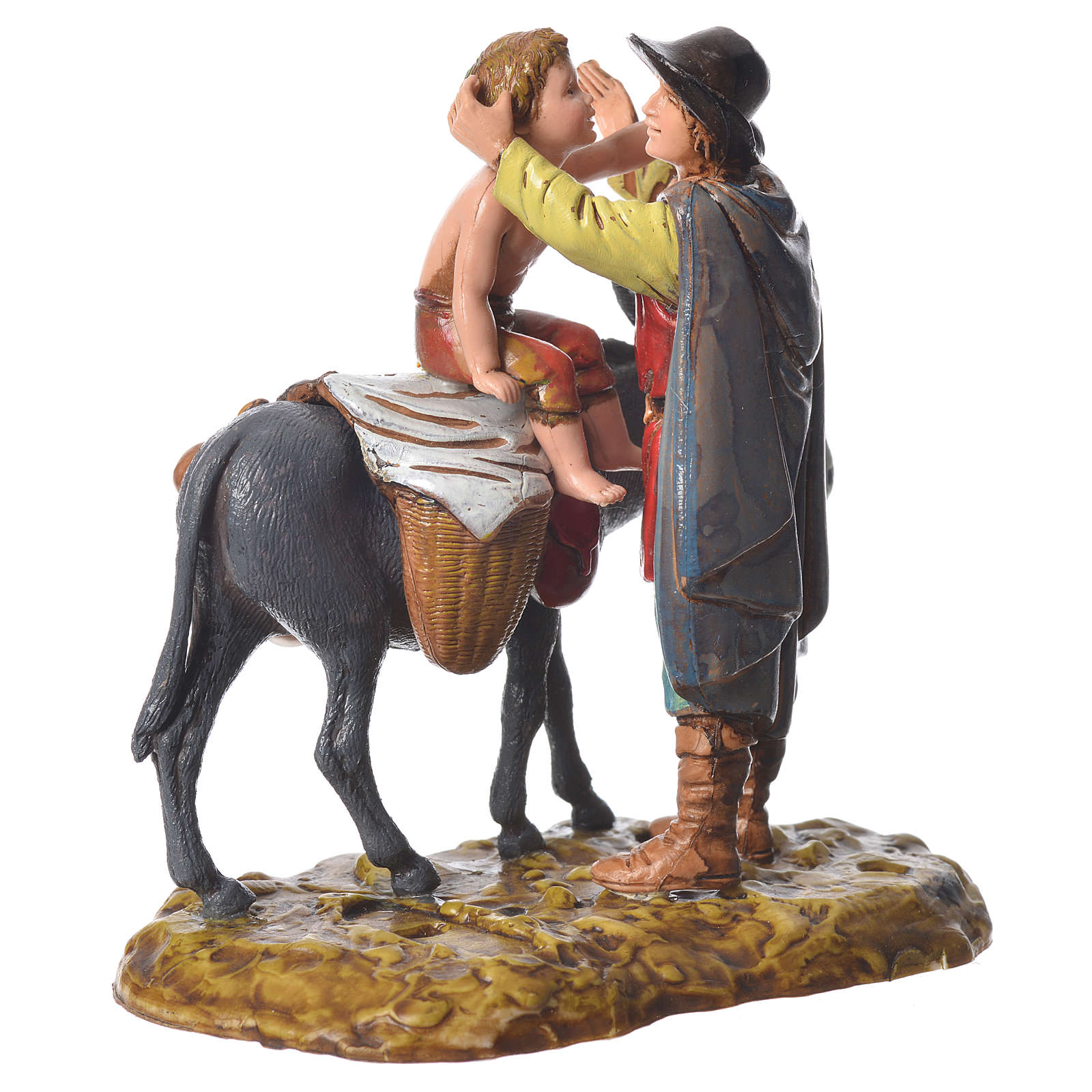 Group with characters and animals, 2 nativity figurines, 10cm Moranduzzo 4