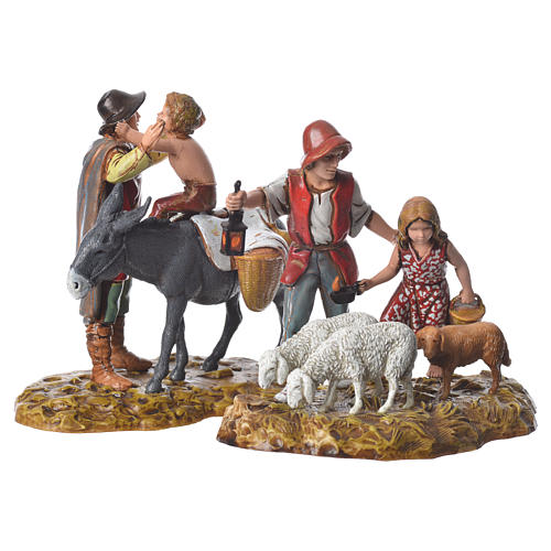 Group with characters and animals, 2 nativity figurines, 10cm Moranduzzo 1