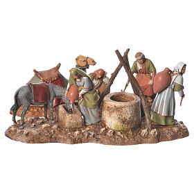 Women at the well and camel drivers, 2 nativity figurine, 10cm Moranduzzo s1