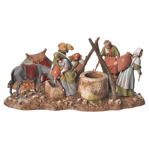 Women at the well and camel drivers, 2 nativity figurine, 10cm Moranduzzo 1