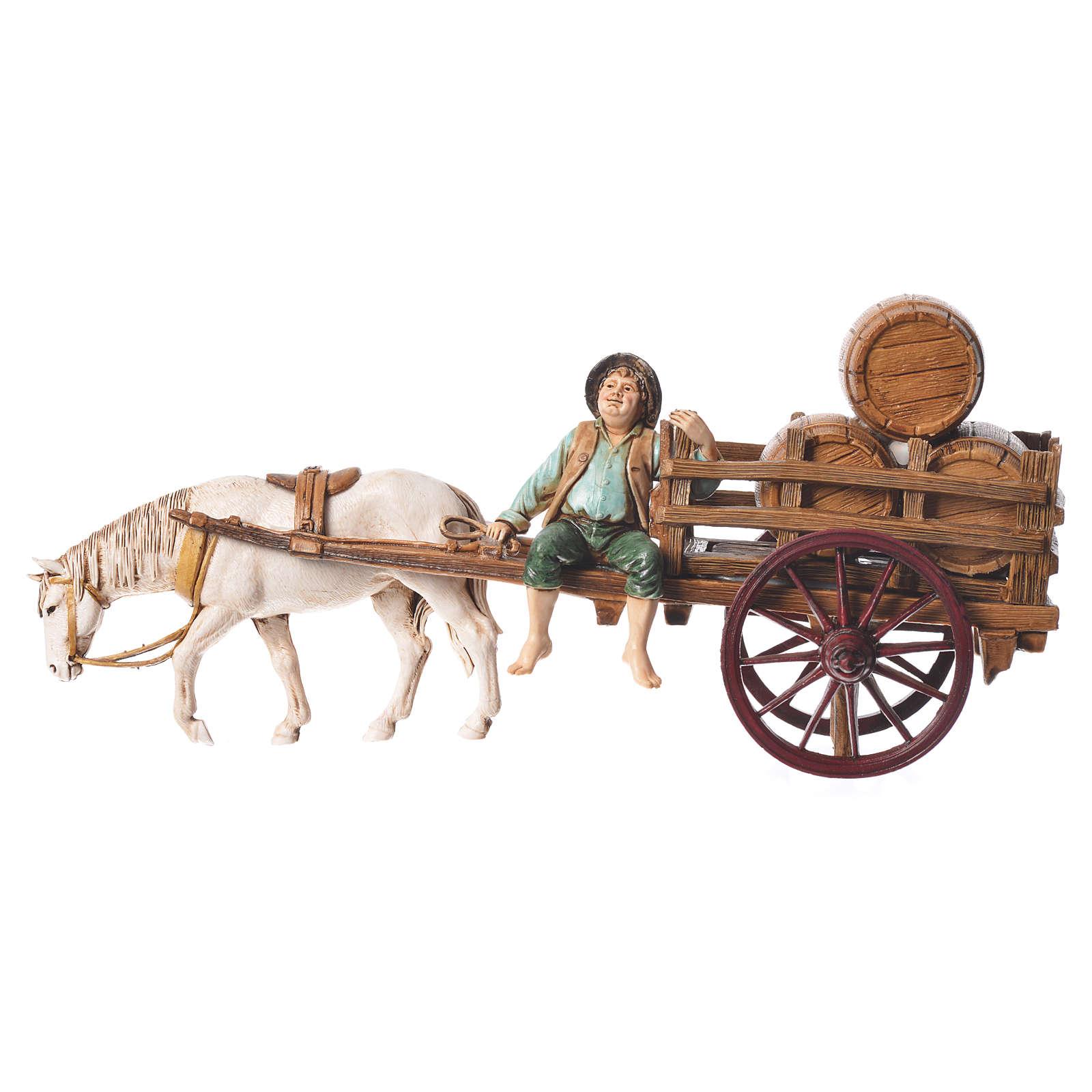 Man on cart 10cm 3 figurines, Moranduzzo nativity scene 4
