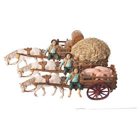 Man on cart 10cm 3 figurines, Moranduzzo nativity scene s6