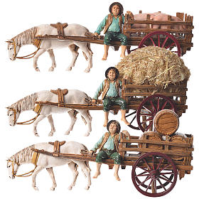 Man on cart 10cm 3 figurines, Moranduzzo nativity scene s1