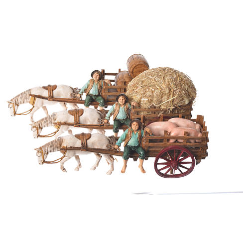 Man on cart 10cm 3 figurines, Moranduzzo nativity scene 6