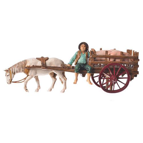 Man on cart 10cm 3 figurines, Moranduzzo nativity scene 10
