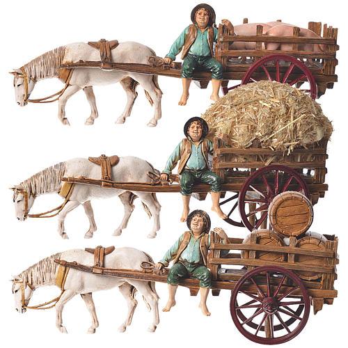 Man on cart 10cm 3 figurines, Moranduzzo nativity scene 1