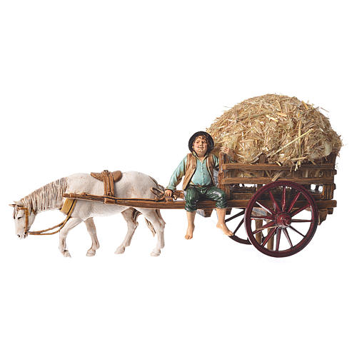 Man on cart 10cm 3 figurines, Moranduzzo nativity scene 2