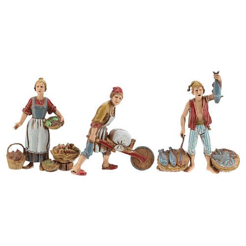 Ofícios costumes napolitanos 3 peças para presépio Moranduzzo figuras altura média 10  cm 6