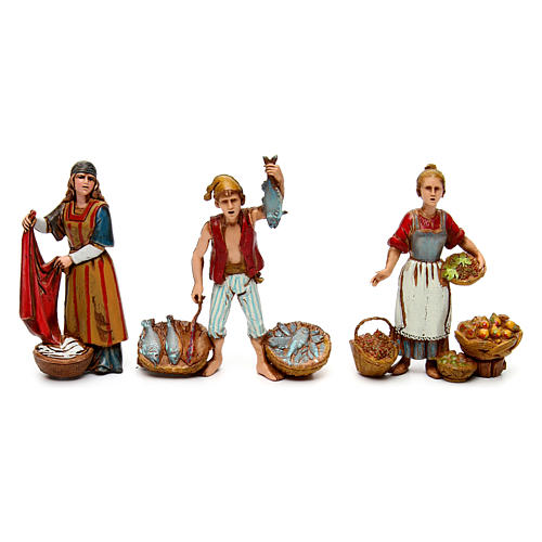 Neapolitan customs and trades, 3 nativity figurine, 10cm Moranduzzo 1