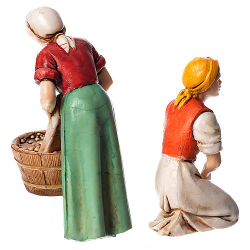 Woman milking and washerwoman, nativity figurines, 10cm Moranduzzo 2