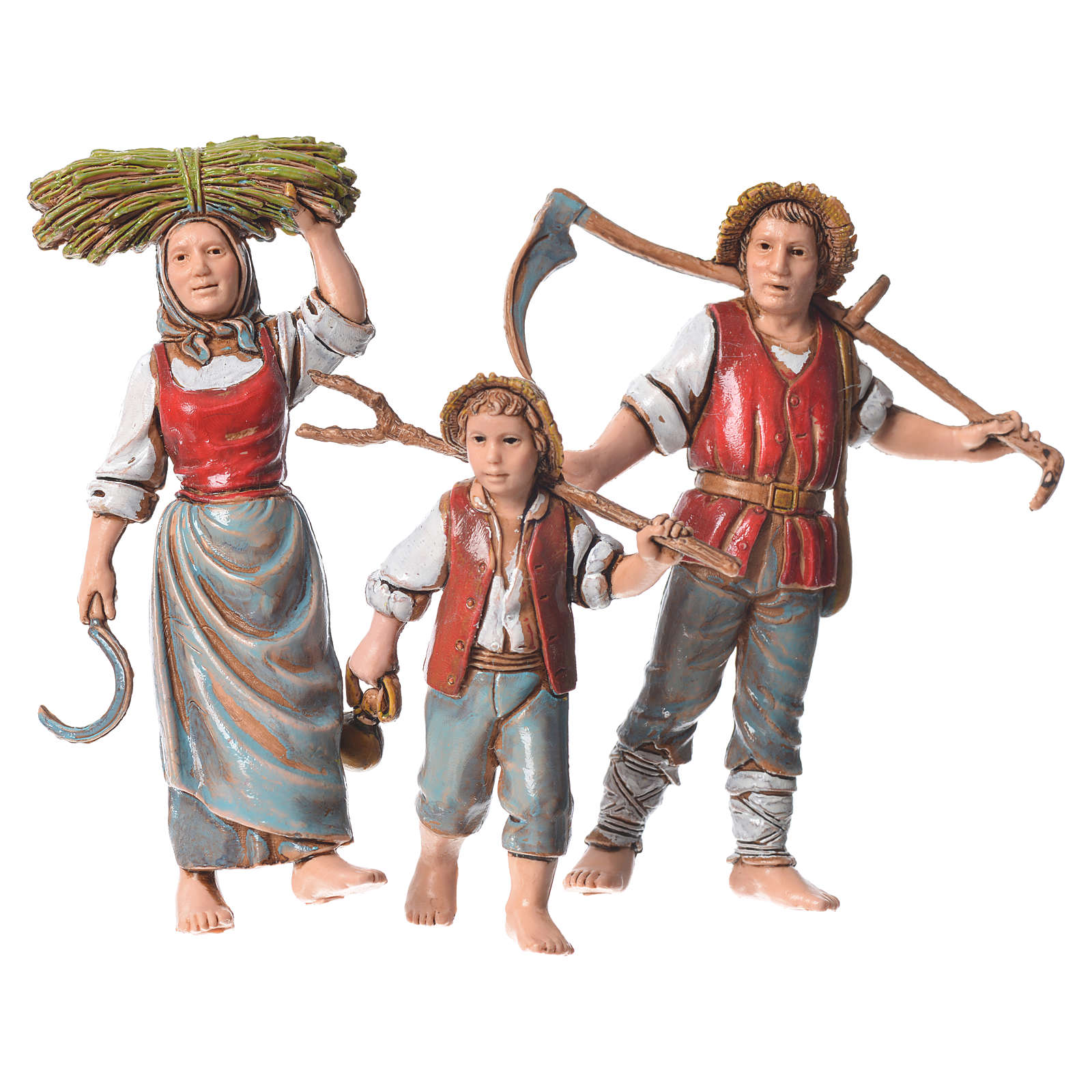 Family of farmers, 3 nativity figurines, 10cm Moranduzzo 4