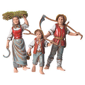 Family of farmers, 3 nativity figurines, 10cm Moranduzzo s1