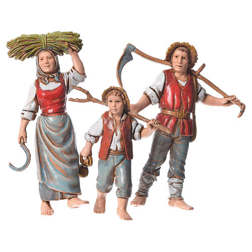 Family of farmers, 3 nativity figurines, 10cm Moranduzzo 1